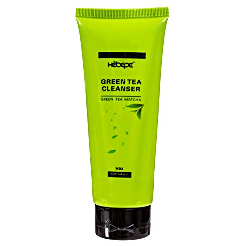Hebepe Green Tea Matcha Daily Facial Cleanser, Face Wash with Collagen, Vitamin C, Vitamin E, Citrus Peel Extract, Natural Antioxidant Hydrating Cleansing Foam