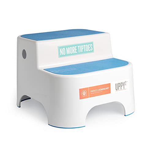 Prince Lionheart Dual Height UPPY2 Step Stool, Blue, Perfect for Potty Training and Kitchen, Grippy Non-Slip Top, Sturdy Base with Non-Slip Feet