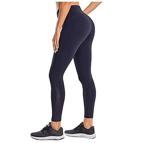 Pantalones Deportivos Color Sólido Pantalón de Cintura Alta Leggins de Levante los Cadera Mallas de Yoga Transpirables Elásticos Leggings de Deporte para Estiramiento,Gym,Yoga y Pilates
