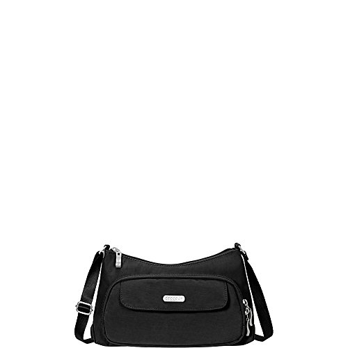 Baggallini Everyday Crossbody Bag - Stylish, Lightweight Purse With Built-In Wallet and Adjustable Strap, (Black/Sand)