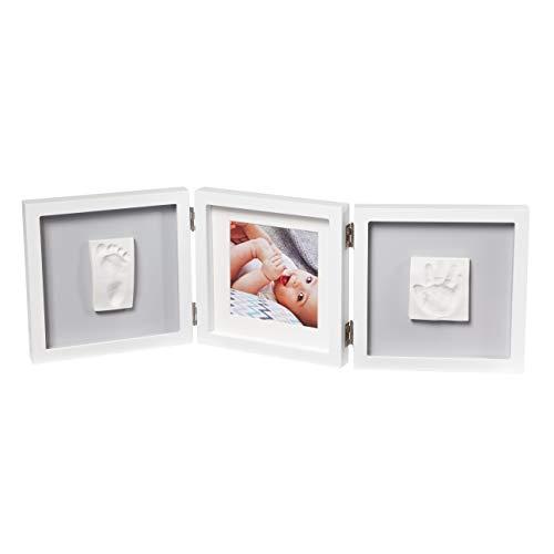 Baby Art My Baby Touch Set de Marco triple para fotos y 2 Huellas de bebé en Arcilla, Recuerdo de las huellas de mano y pie, color Gris