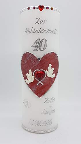 Kerze Rubinhochzeit 40 mit Namen & Datum RH-02
