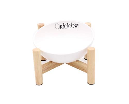Cuddleboy erhöhter Napf für Hunde und Katzen | Futternapf | Hundenapf | Katzennapf | Keramik (300ml, Weiß)