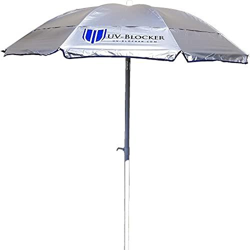 6 Foot Heavy Duty Beach Umbrella - UPF 55+ UV Protection Umbrella Shade Effectively Blocks 99% of UVA UVB Light - Travel Beach Umbrella with Vented Double Canopy, Tilt Mechanism & Carrying Bag
