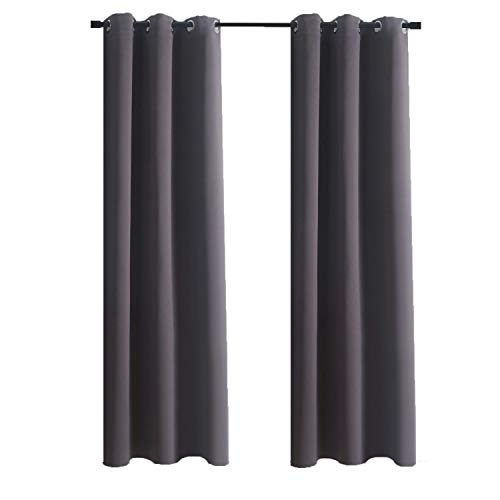 """Aquazolax Grommet Top Bedroom Blackout Curtains Solid Window Curtain Panels Drapes 42""""x63"""" Thermal Insulated Readymade for Nursery, 1 Pair, Grey"""