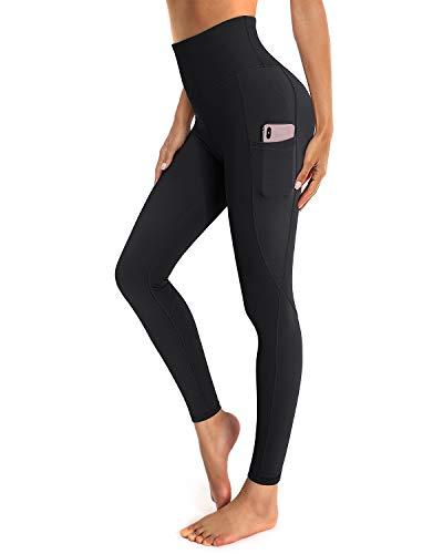 OUGES Damen Sport Leggings High Waist Leggins Yogahose Blickdichte Sporthose mit Taschen (Schwarz,S)