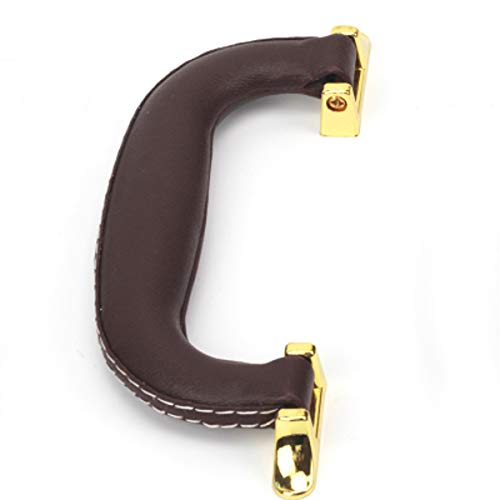 CynKen 1 Stück PU Leder Griff für Gitarre Spieluhr Handtaschen Geschenkboxen Weinkisten Gepäck Werkzeugkoffer Trolley Instrumentenkoffer Braun Gold