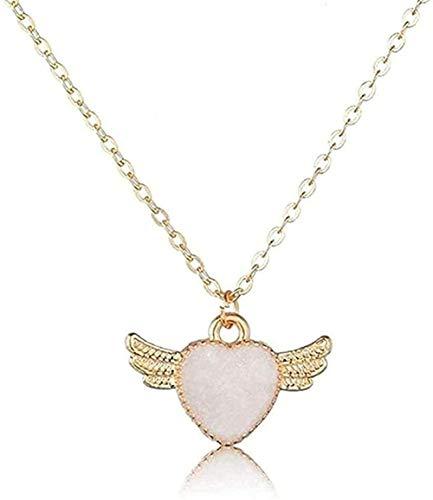 Collar de corazón romántico con colgantes y collares de alas de ángel para mujeres Joyas hechas a mano para amantes Hermosos collares de boda Joyas Collar colgante Regalo para mujeres Hombres Niñas G