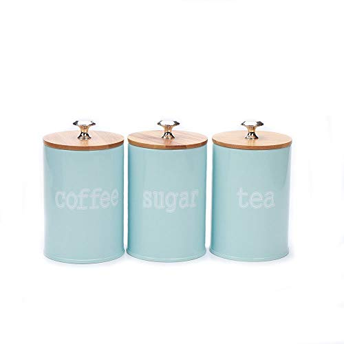X022S Set of 3 Metal Kitchen Food Storage Tin Canister/Jar/Container with Bamboo Lid (blue)