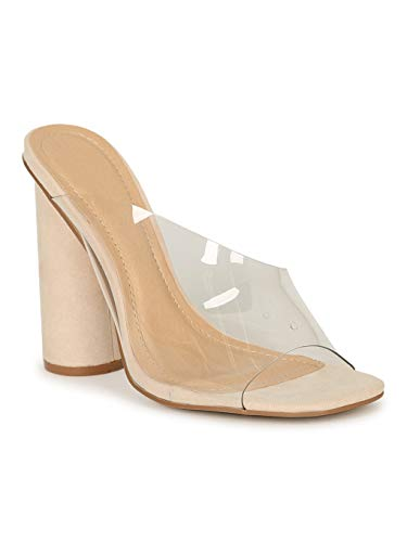 Alrisco Lady Godiva Square Toe Clear Asymmetrical Vamp Mule Heel 20225 - Nude Faux Suede (Size: 7.0)