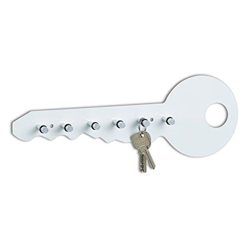 Zeller 13850 Schlüsselbord, Metall/Alu, weiß, ca. 35 x 4 x 12 cm