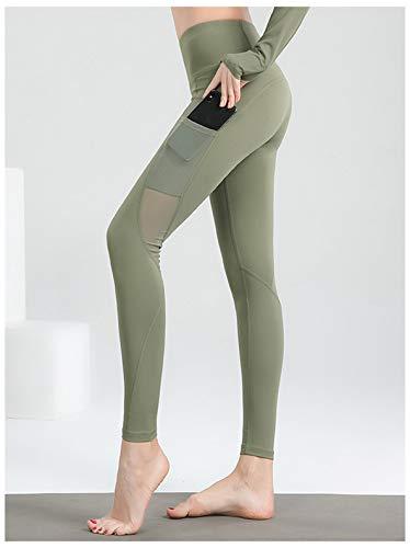 QMMD Leggings de yoga para mujer con bolsillos, leggings de yoga de cintura alta sin costuras, leggings elásticos para gimnasio, yoga, entrenamiento, correr, ocio diario, B, L