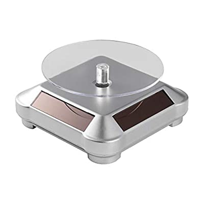 Solar Turntable 360° Rotating Stand, Solar Display Stand Turntable for Better Curing UV Resin Printed Small Items Model from LCD/SLA/DLP 3D Printer, Jewelry Spinner Watch Hobby Collection Shelf
