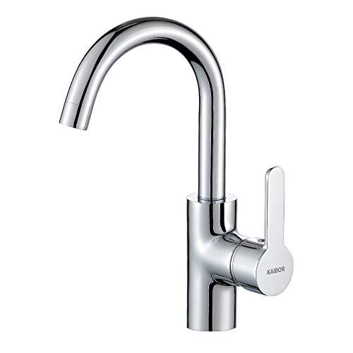 KAIBOR Chrom Waschtischarmatur 360° Schwenkbar Wasserhahn Bad, Hoch Einhebelmischer Mischbatterie Armatur für Badezimmer Waschbecken und Waschschalen