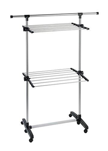 WENKO Platzspar-Wäschetrockner, Edelstahl rostfrei, 77-120 x 143 x 56 cm, Silber matt