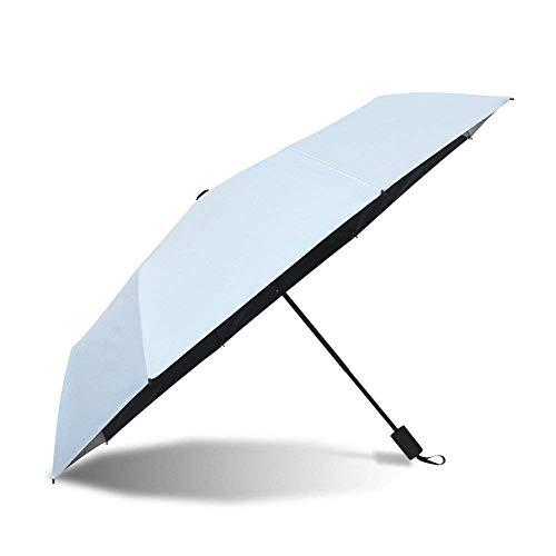 YNHNI Paraguas de verano, paraguas de doble uso, paraguas plegable de color sólido simple, paraguas de plástico, paraguas de protección solar, portátil (color azul claro)