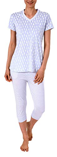 Normann Damen Capri-Pyjama Kurzarm mit Ananas als Motiv, Coole Optik - 191 204 90 216, Farbe:lila, Größe2:40/42