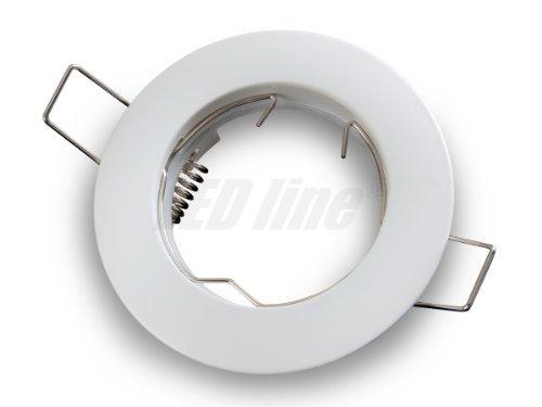 Einbaustrahler, LED und Halogen GU10 MR16 Einbauspot Spot Rund Metall Weiss ideal für LED Lampen + MR16 Fassung, LEDLine