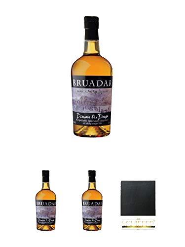 Bruadar Whisky Malt Whisky Liköre 0,7 Liter + Bruadar Whisky Malt Whisky Liköre 0,7 Liter + Bruadar Whisky Malt Whisky Liköre 0,7 Liter + Schiefer Glasuntersetzer eckig ca. 9,5 cm Durchmesser