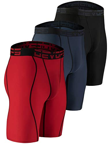 DEVOPS Men's Compression Shorts Underwear (3 Pack) (Large, Black/Charcoal/Red)
