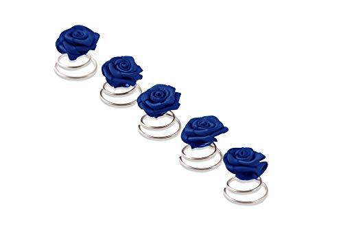 5 Roses Pins - accessoires de cheveux de mariée - spirale Epingle Curlie - Set Bleu