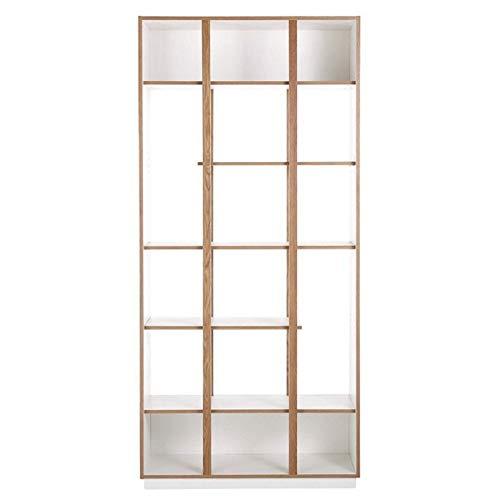 Paris Prix - Bibliothèque Design 6 étagères Newbury 210cm Chêne & Blanc