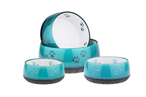 EHASO Hundenapf mit Pfötchen - Futter- und Trinknapf für kleine und große Hunde (330ml, Türkis)