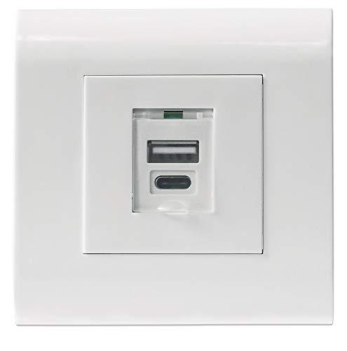 Preisvergleich Produktbild Intellinet 772228 Unterputzdose mit 1x USB Typ a-Ladeport und C-Ladeport
