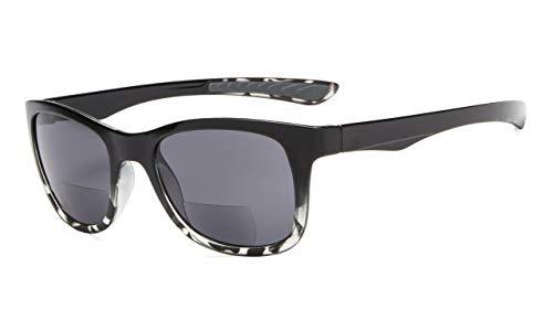 Eyekepper Klassisch 80 Jahrgang Bifokale Sonnenbrille Leser +3.00 Stärke die Sonnenbrille liest (Schwarz-Transparent Schildkröte)