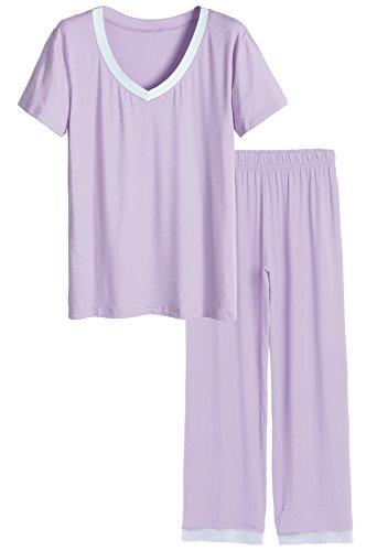 Latuza Women's V-neck Sleepwear Short Sleeves Top with Pants Pajama Set 2X Purple