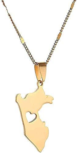 Liuqingzhou Co.,ltd Collar Collar de Acero Inoxidable Mapa de Perú Collares Pendientes Mapa de Perú Cadena de corazón Joyería Regalo Niñas Niños Collar