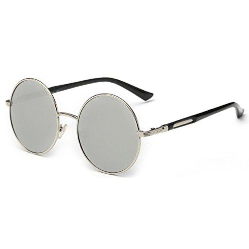 hongxin Sonnenbrille Frauen und Männer Mehrfarbig Mirrored Runde Rahmen Metall Mode Vintage Look Brille