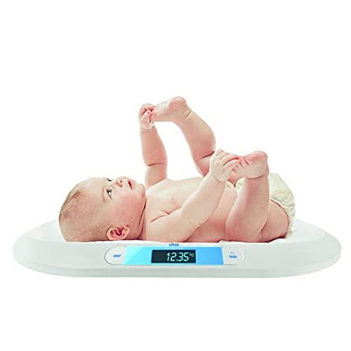 Ufesa BN2020 MYBABY - Báscula de Bebé con Diseño Curvo, Fácil de Limpiar, Diseño Slim de Alta Precisión, con Función TARA, Display Retroiluminado