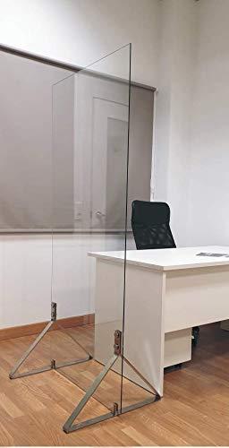 LegendGloo Mampara Separadora Pantalla de Proteccion Cristal Templado Pies de Gran Estabilidad (60cm) Separador para Hosteleria Restaurantes Peluquerias Salas de Espera Oficinas (70x180)