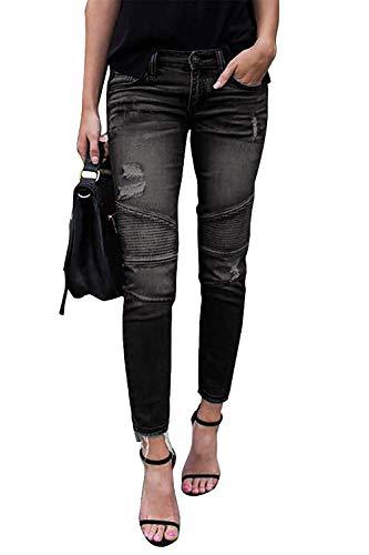 Minetom Jeans Damen Jeanshosen Röhrenjeans Skinny Slim Fit Stretch Boyfriend Zerrissene Destroyed Straight Denim Hose mit Löchern (EU M, A Schwarz)