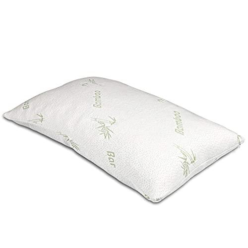 JONJUMP Almohada de fibra de bambú que rellena las almohadas ortopédicas del cuello del niño de seda de morera con la cubierta del algodón