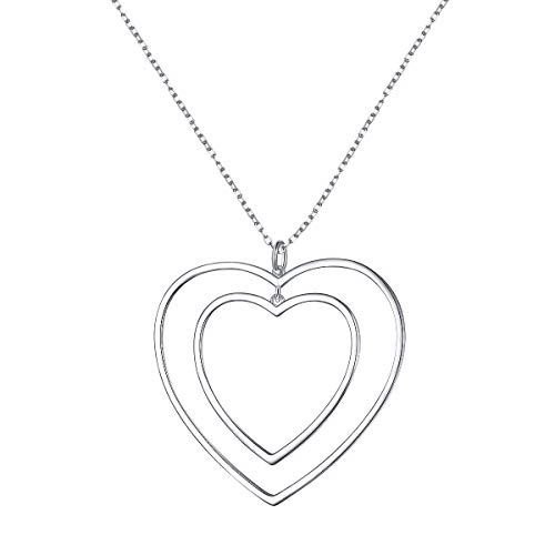 Double heart sterling silver necklace.
