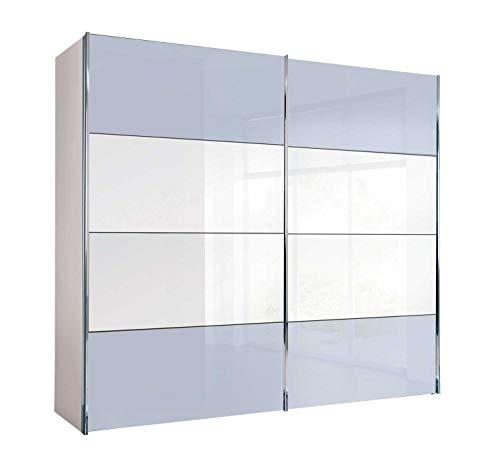 Möbel Jack Schwebetürenschrank Kleiderschrank Schlafzimmerschrank   2-türig   Dekor   Polarweiß   Seidengrau   mit Spiegel   250x216x68 cm