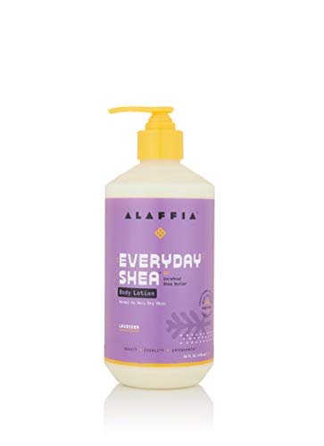 Alaffia EveryDay Shea Body Lotion, Lavender, 16 Oz. Cruelty Free Calming Body Lotion for Normal to Very Dry Skin. Made with Fair Trade Shea Butter and Neem. No Parabens, Vegan.