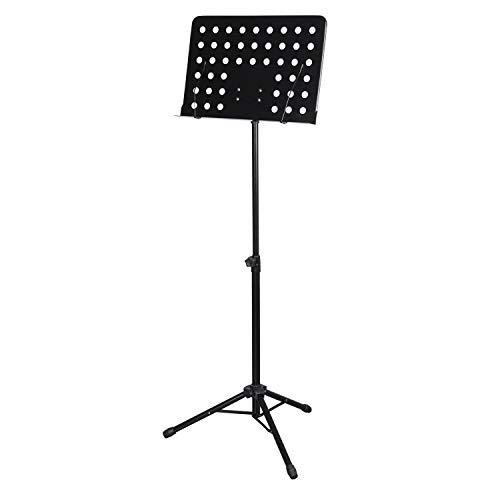CASCHA HH 2068 Orchesterpult aus Metall, Notenpult, Notenhalter, Sheet Music Stand, zusammenklappbar, höhenverstellbar, schwarz