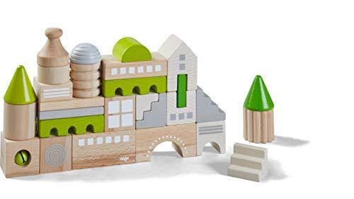 HABA 305456 - Bausteine Coburg, 28-teiliges Baustein-Set zum Bauen von Stadtkulissen, Holzbausteine in unterschiedlichen Formen und Farben, Spielzeug ab 18 Monaten