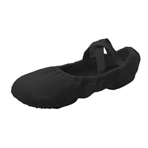 Baosity Zapatos de Lona para Niños Pequeños, Niñas Y Mujeres, Zapatos de Baile de Ballet Y Yoga Duraderos para La Escuela O El Hogar - Black_40