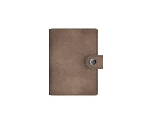 Lite Wallet Matte Taupe Grey - Edler Kartenhalter aus hochwertigem, grauen Leder - Integrierte LED-Lampe mit Zwei Lichtstärken - RFID-Blocker zum Schutz persönlicher Daten -