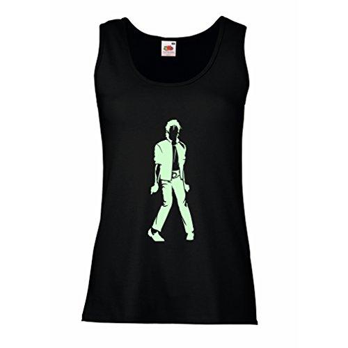 lepni.me Camisetas sin Mangas para Mujer Me Encanta M J - Rey del Pop, 80s, 90s Músicamente Camisa, Ropa de Fiesta (Small Negro Fluorescente)