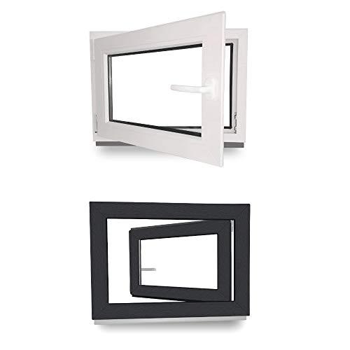 Kellerfenster - Kunststoff - Fenster - innen weiß/außen anthrazit - BxH: 100 x 50 cm - 1000 x 500 mm - DIN Links - 2 fach Verglasung - 60 mm Profil