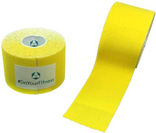 #DoYourFitness 1x Premium Kinesiologie Tape, elastische Qualitäts-Bandage / 100% gewebte Baumwolle/wasserresistent/Rollenlänge 5 m, Breite 7,5 cm, Farbe: gelb