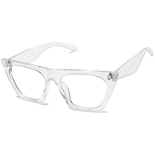 SOJOS Retro Square Cateye Polarized Women Sunglasses Trendy Style BELLA SJ2115 (C12 Crystal Frame/Anti-Blue Light Lens, 54)