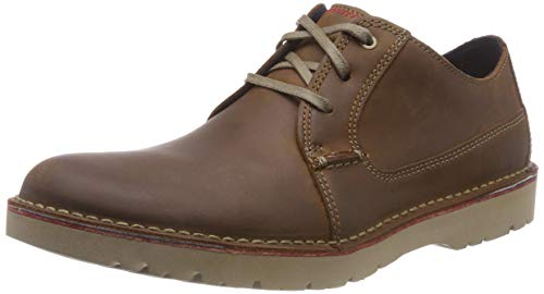 Clarks Men's Vargo Plain Derbys, Braun (Dark Tan Leather), 44 EU