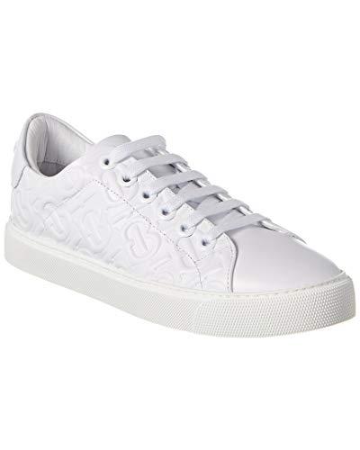 BURBERRY Albridge Logo Embossed Leather Fashion Sneakers Size 40 White