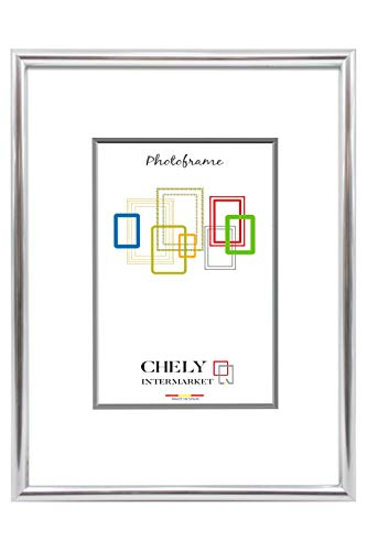 Chely Intermarket, marco de fotos 10x15cm (Plateado) MOD-311. Marco de Fotos para Decoración | Fotografías de Boda | Fotos de Paisajes | Listado de precio | Certificados universitarios(311-10x15-0,15)